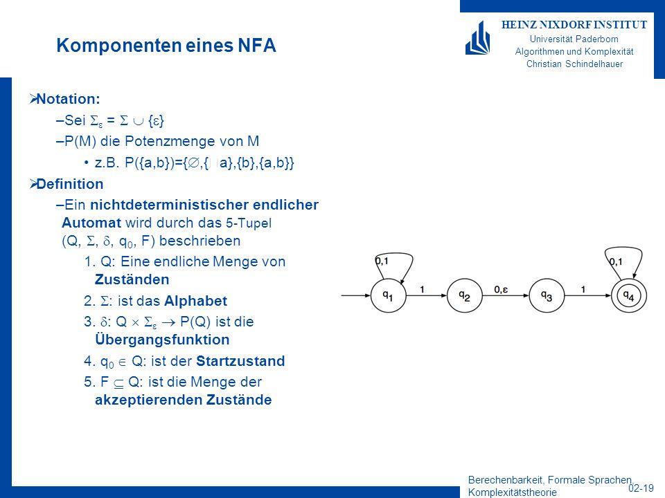 Komponenten eines NFA Notation: Sei  =   {}