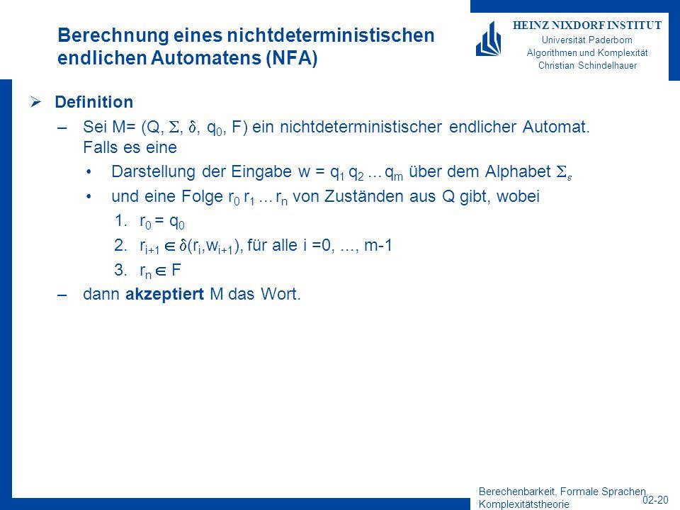 Berechnung eines nichtdeterministischen endlichen Automatens (NFA)