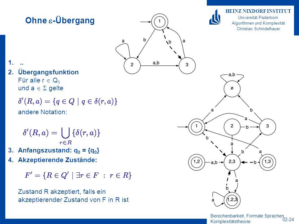 Ohne -Übergang .. Übergangsfunktion Für alle r  Q1 und a   gelte andere Notation: Anfangszustand: q0 = {q0}