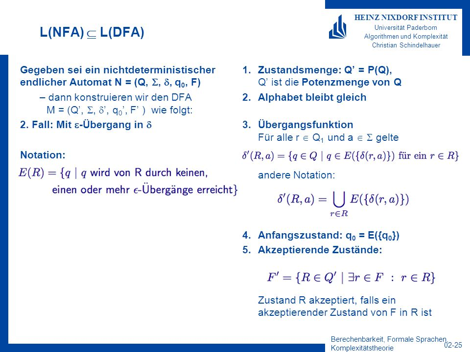 L(NFA)  L(DFA) Gegeben sei ein nichtdeterministischer endlicher Automat N = (Q, , , q0, F)
