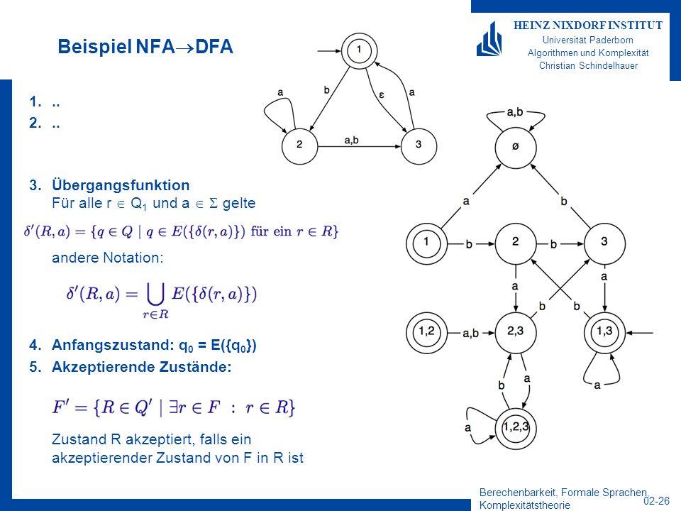 Beispiel NFADFA .. Übergangsfunktion Für alle r  Q1 und a   gelte andere Notation: Anfangszustand: q0 = E({q0})