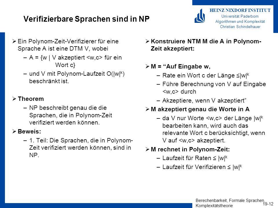 Verifizierbare Sprachen sind in NP