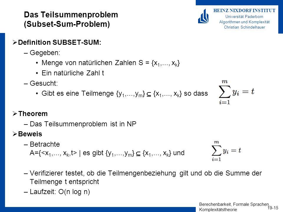 Das Teilsummenproblem (Subset-Sum-Problem)