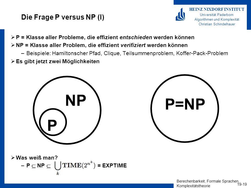Die Frage P versus NP (I)