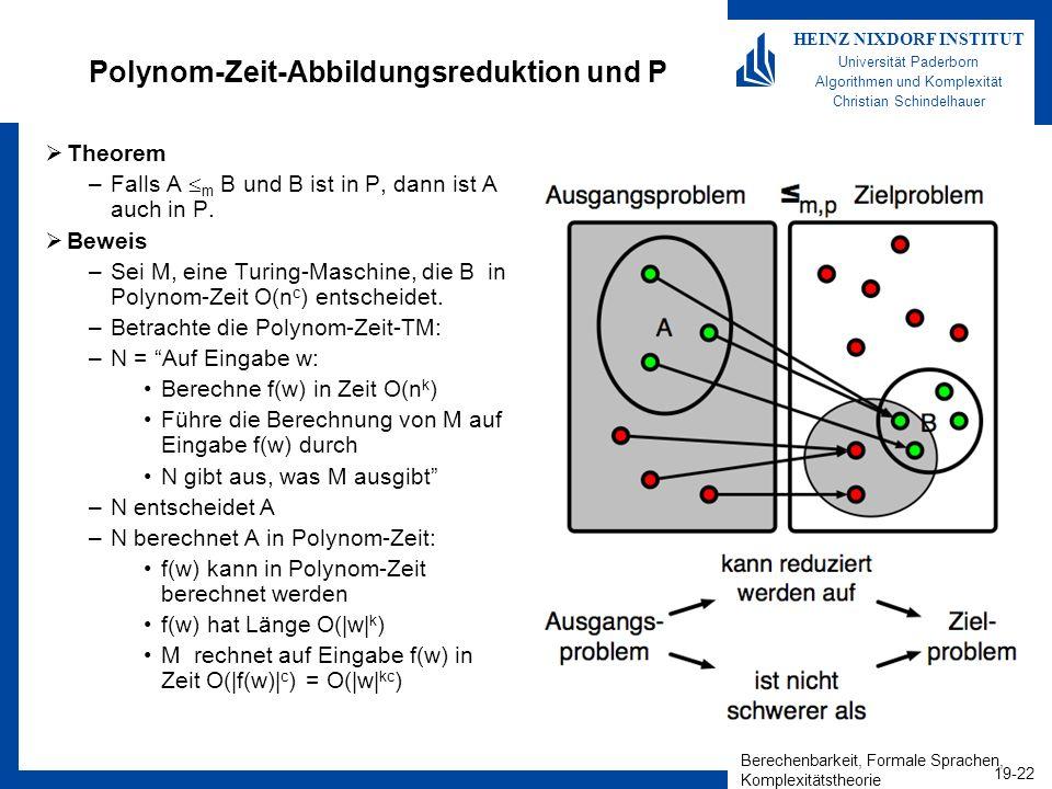 Polynom-Zeit-Abbildungsreduktion und P
