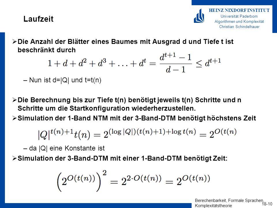 Laufzeit Die Anzahl der Blätter eines Baumes mit Ausgrad d und Tiefe t ist beschränkt durch. Nun ist d=|Q| und t=t(n)