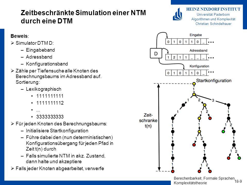 Zeitbeschränkte Simulation einer NTM durch eine DTM