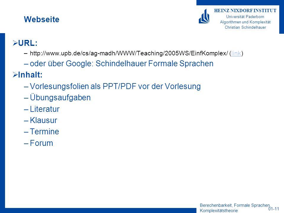 oder über Google: Schindelhauer Formale Sprachen Inhalt: