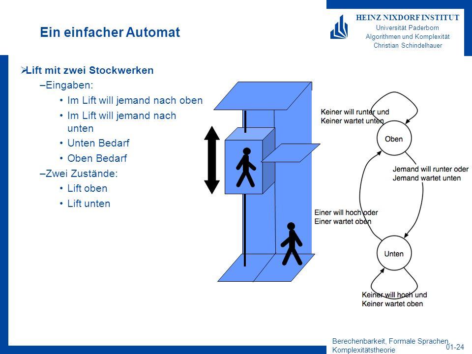 Ein einfacher Automat Lift mit zwei Stockwerken Eingaben: