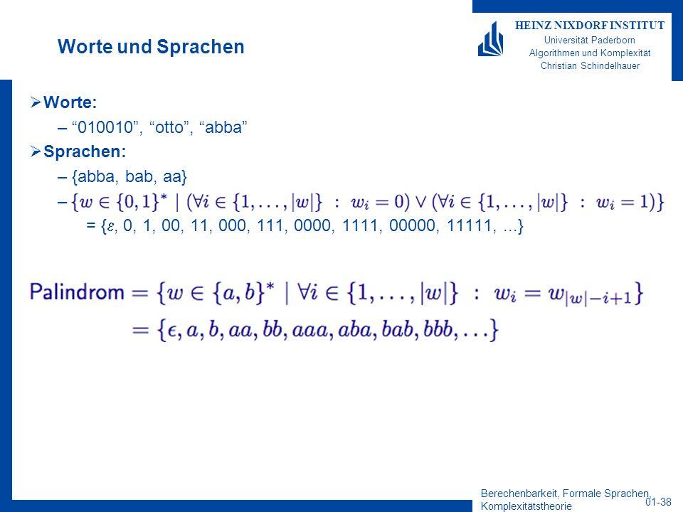 Worte und Sprachen Worte: 010010 , otto , abba Sprachen:
