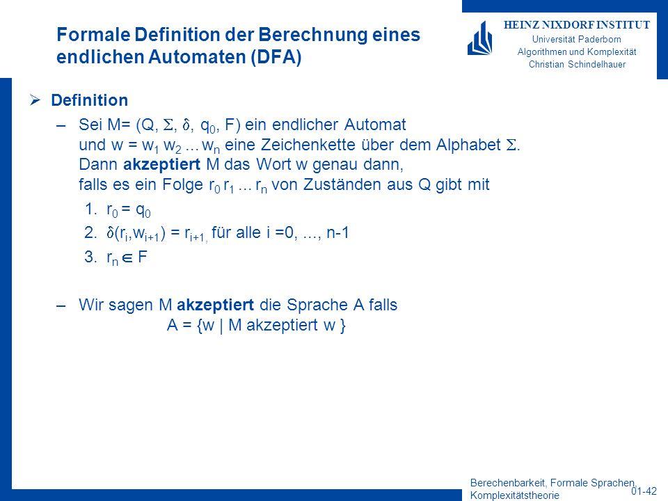 Formale Definition der Berechnung eines endlichen Automaten (DFA)