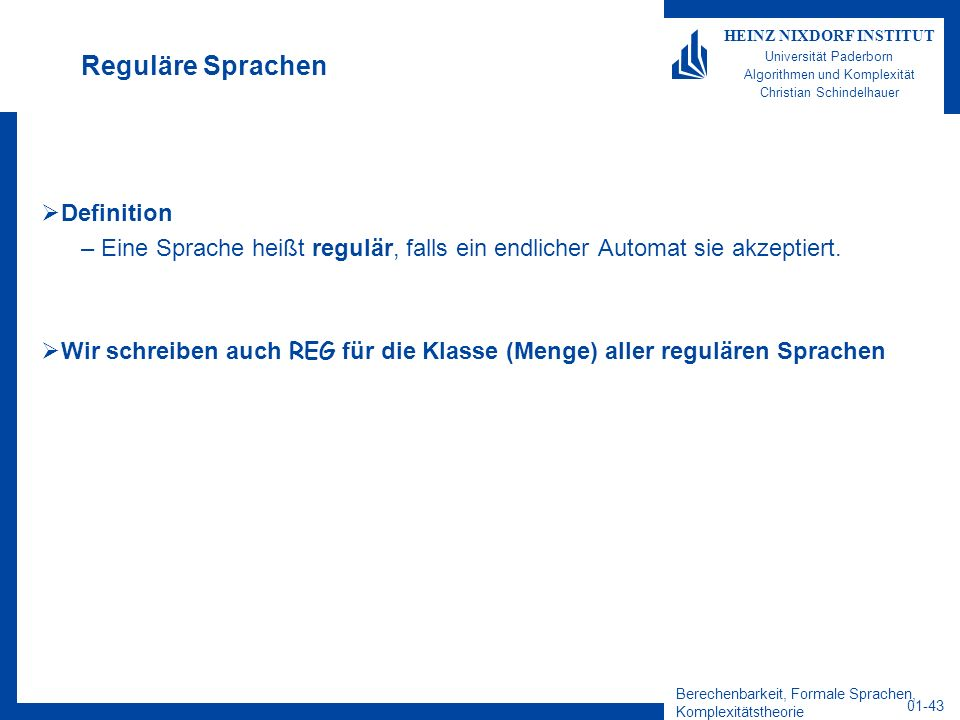 Reguläre Sprachen Definition
