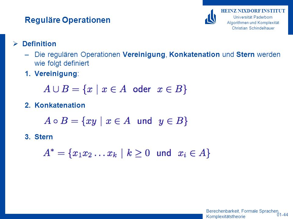 Reguläre Operationen Definition