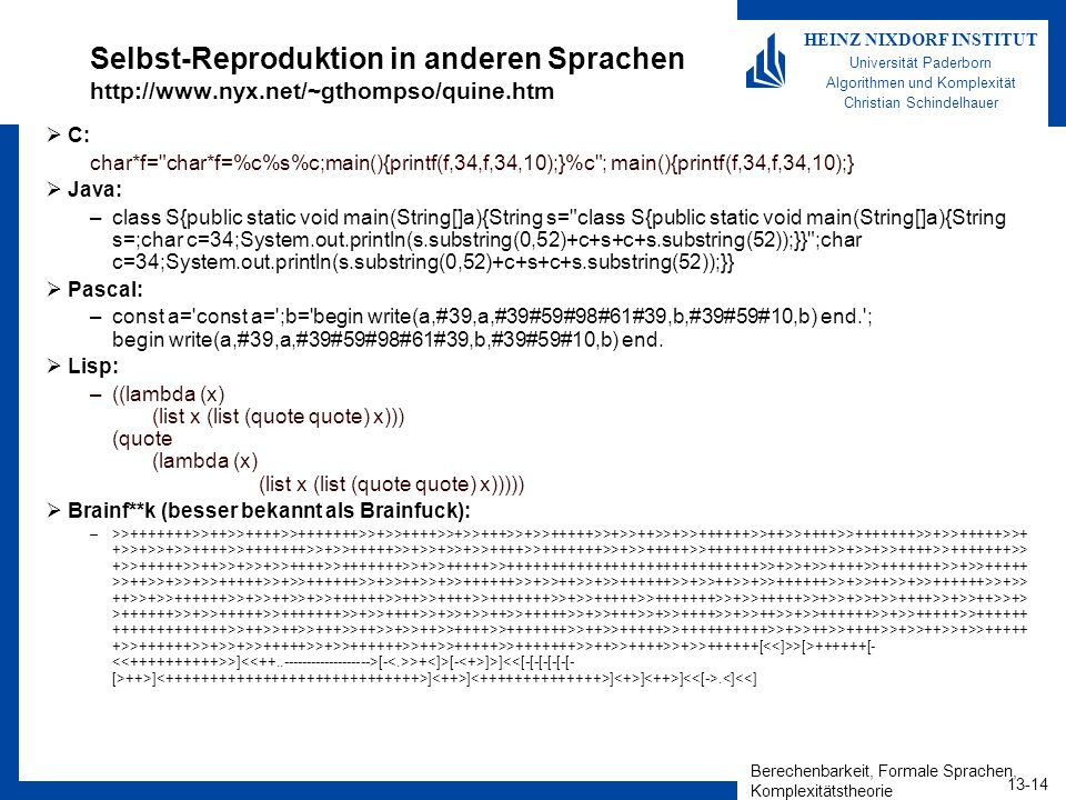 Selbst-Reproduktion in anderen Sprachen http://www. nyx