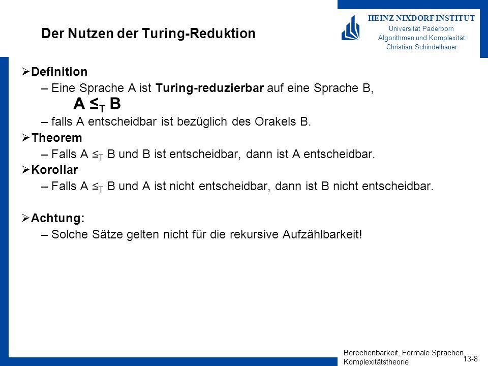 Der Nutzen der Turing-Reduktion