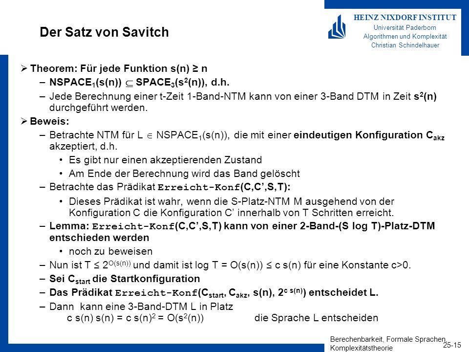 Der Satz von Savitch Theorem: Für jede Funktion s(n) ≥ n