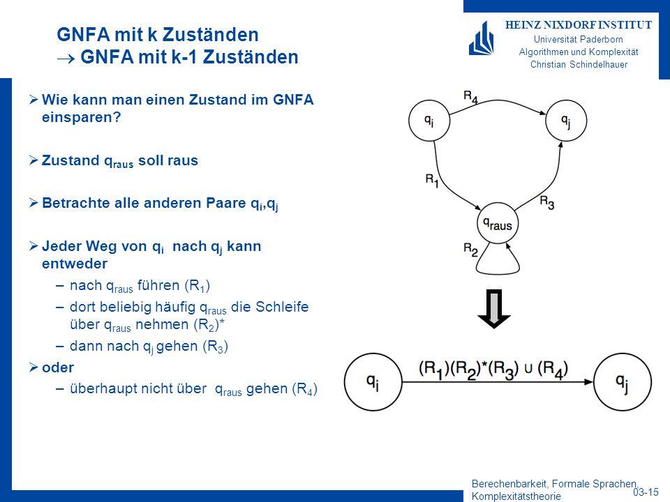 GNFA mit k Zuständen  GNFA mit k-1 Zuständen