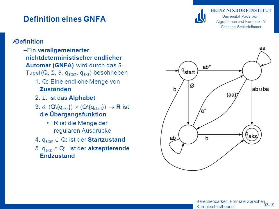 Definition eines GNFA Definition
