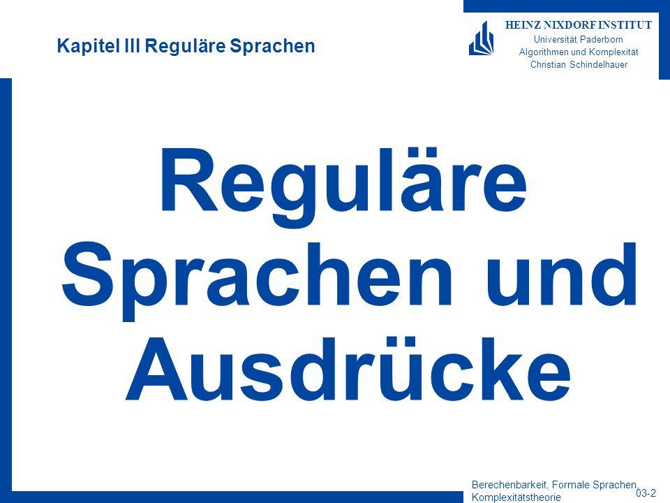 Kapitel III Reguläre Sprachen