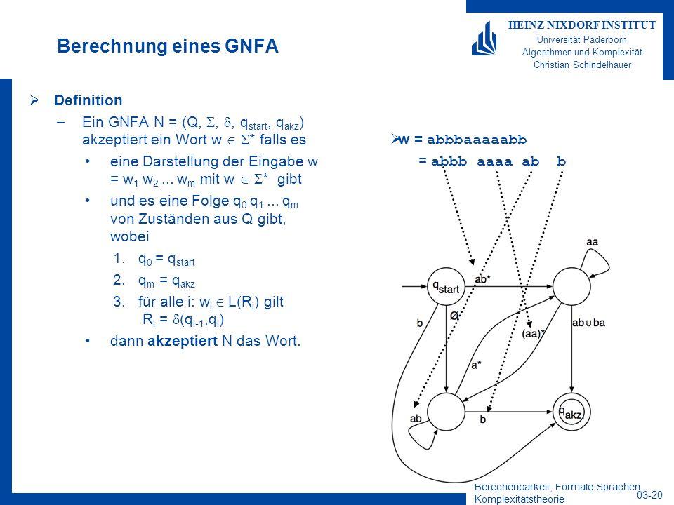 Berechnung eines GNFA Definition