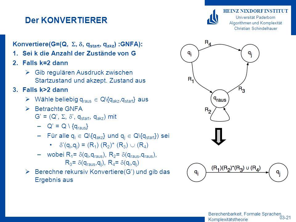Der KONVERTIERER Konvertiere(G=(Q, , , qstart, qakz) :GNFA):