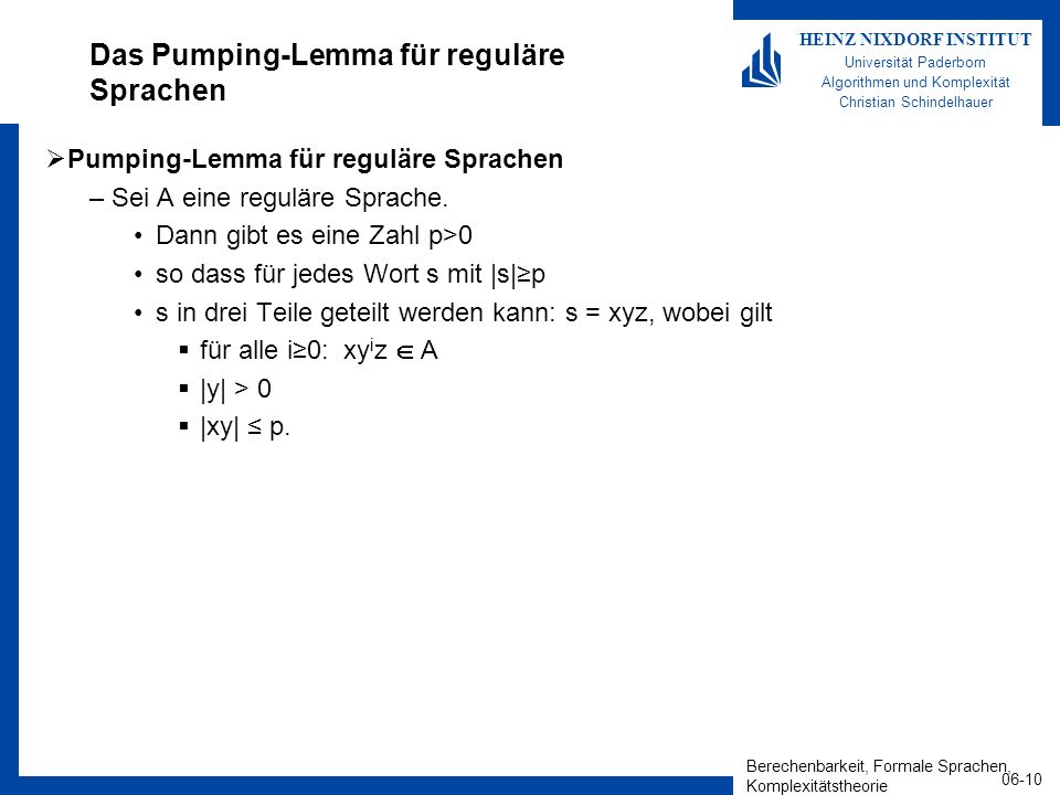 Das Pumping-Lemma für reguläre Sprachen