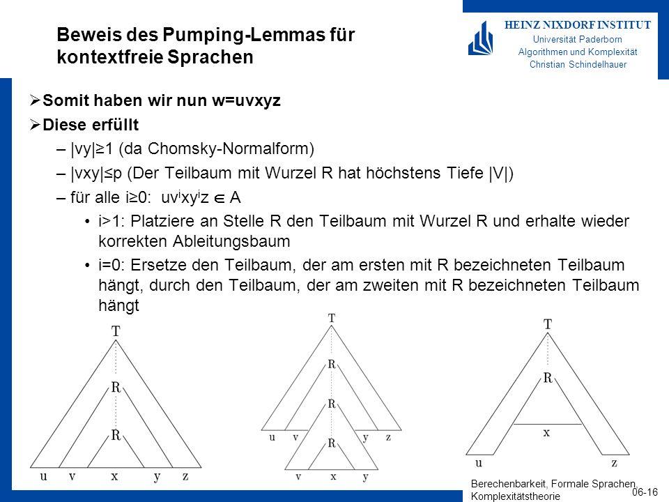 Beweis des Pumping-Lemmas für kontextfreie Sprachen
