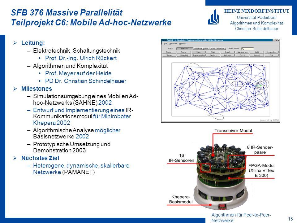 SFB 376 Massive Parallelität Teilprojekt C6: Mobile Ad-hoc-Netzwerke