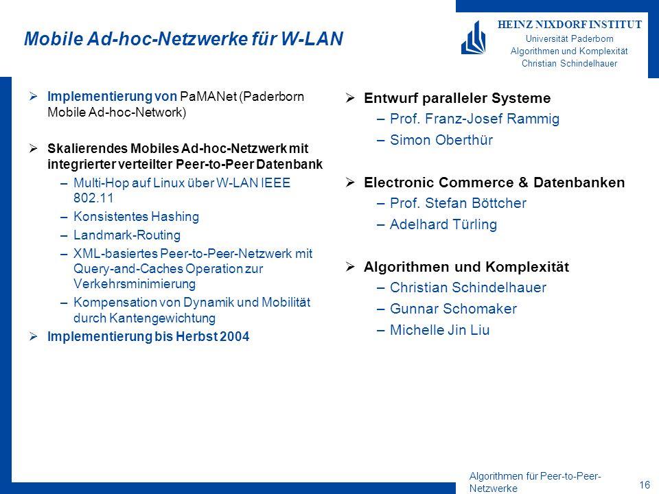 Mobile Ad-hoc-Netzwerke für W-LAN