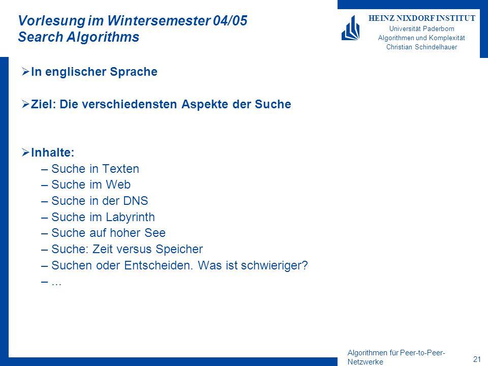 Vorlesung im Wintersemester 04/05 Search Algorithms