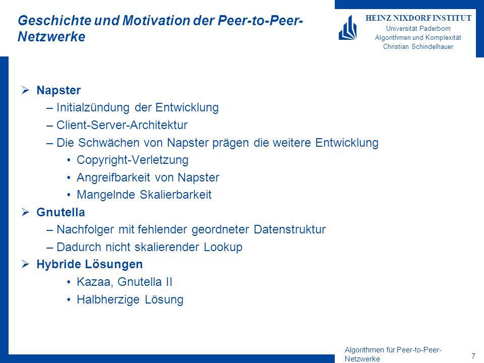 Geschichte und Motivation der Peer-to-Peer-Netzwerke