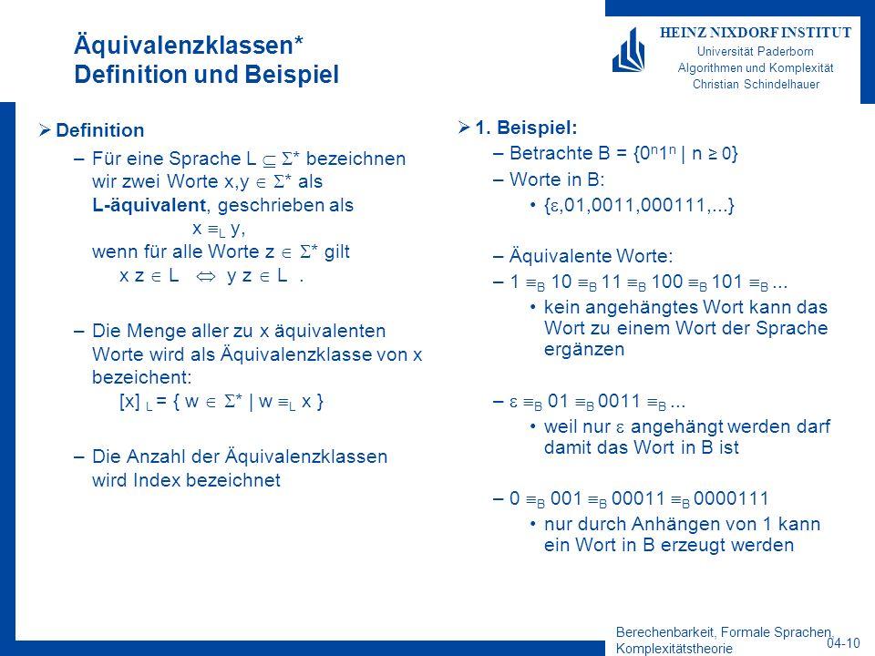 Äquivalenzklassen* Definition und Beispiel