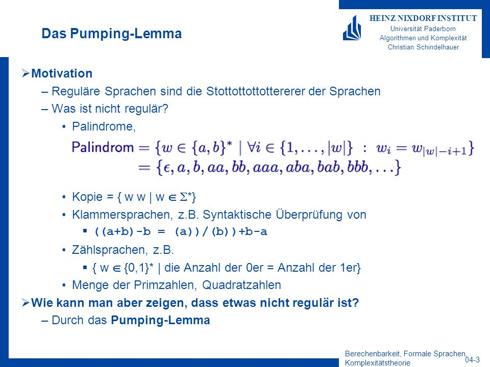 Das Pumping-Lemma Motivation