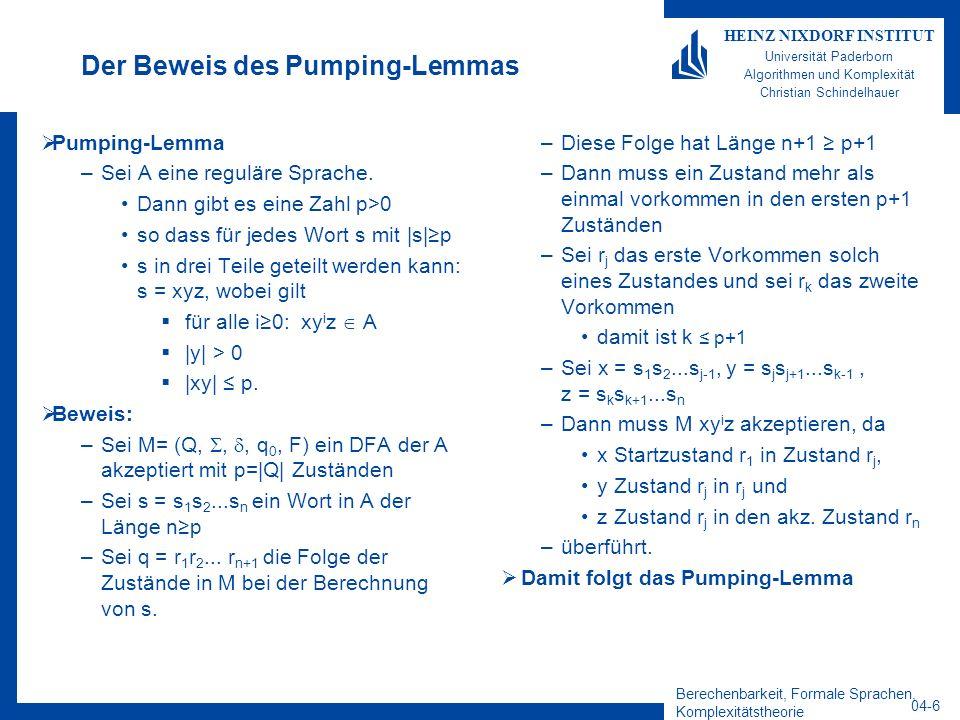 Der Beweis des Pumping-Lemmas