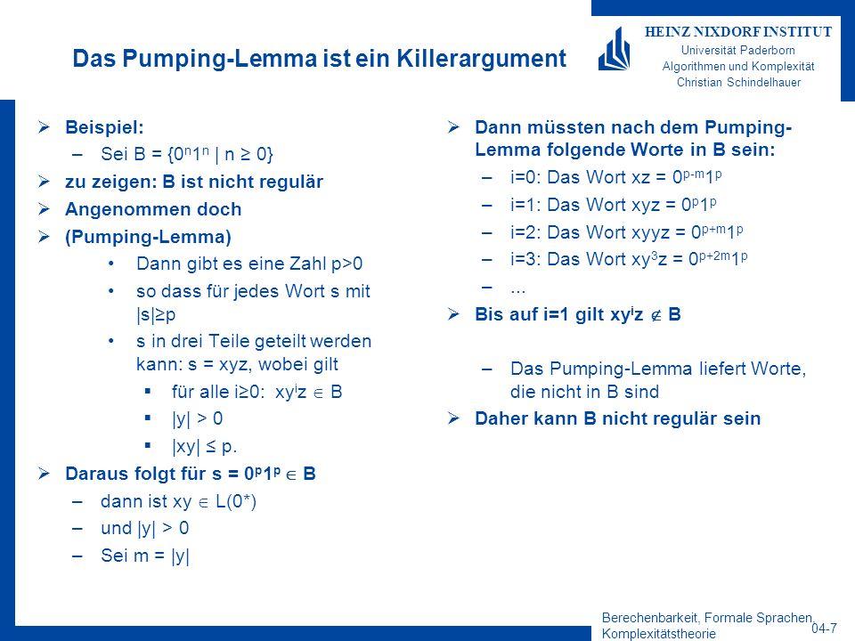 Das Pumping-Lemma ist ein Killerargument