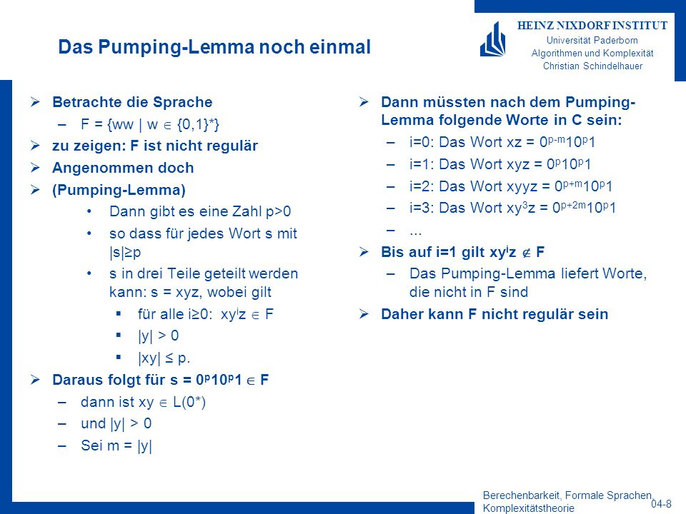 Das Pumping-Lemma noch einmal