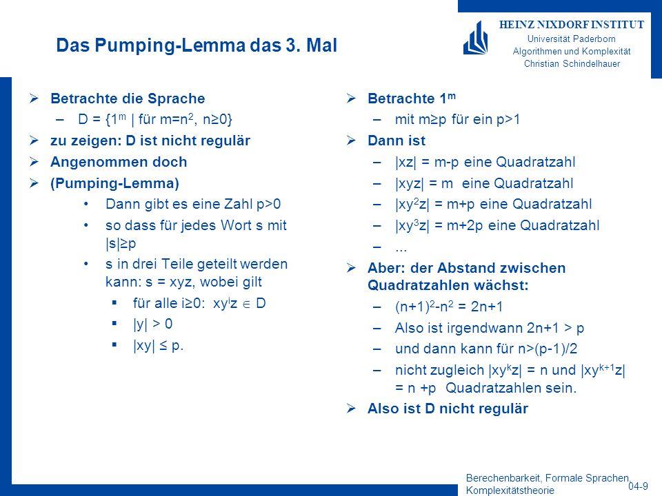 Das Pumping-Lemma das 3. Mal
