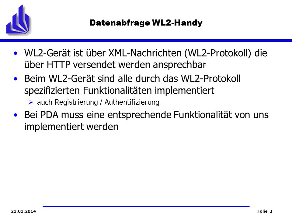 Datenabfrage WL2-Handy