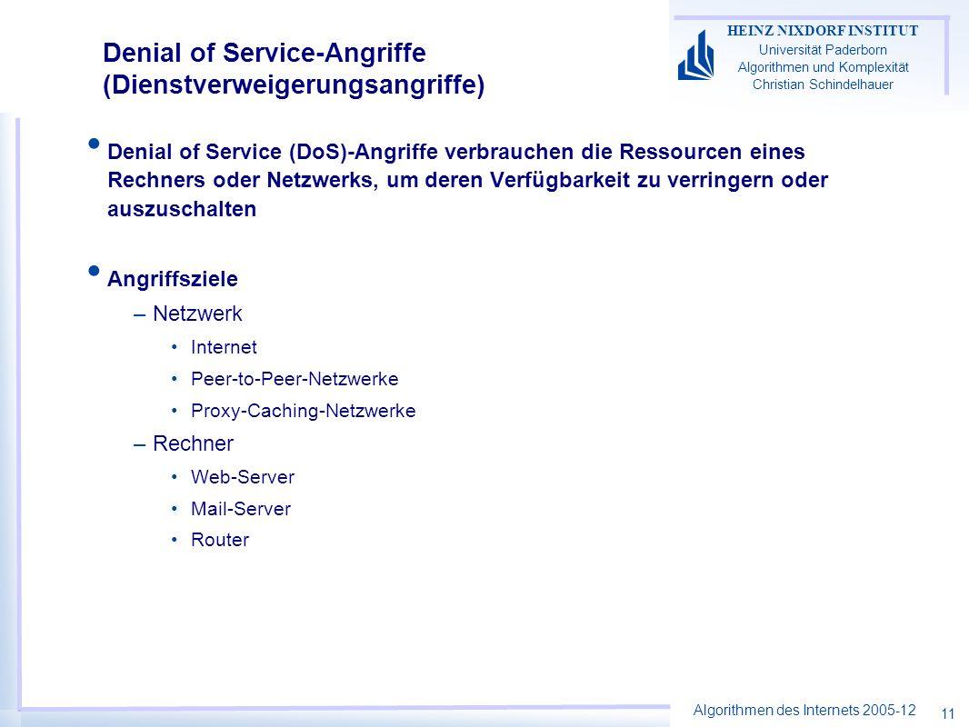 Denial of Service-Angriffe (Dienstverweigerungsangriffe)