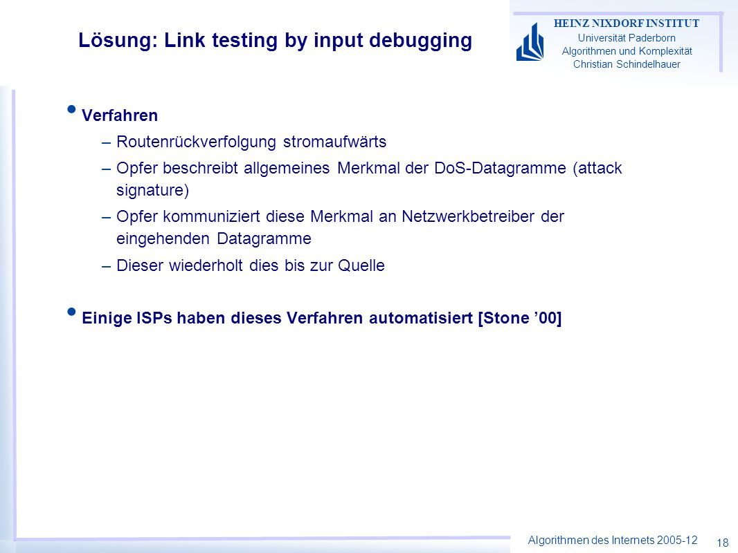 Lösung: Link testing by input debugging