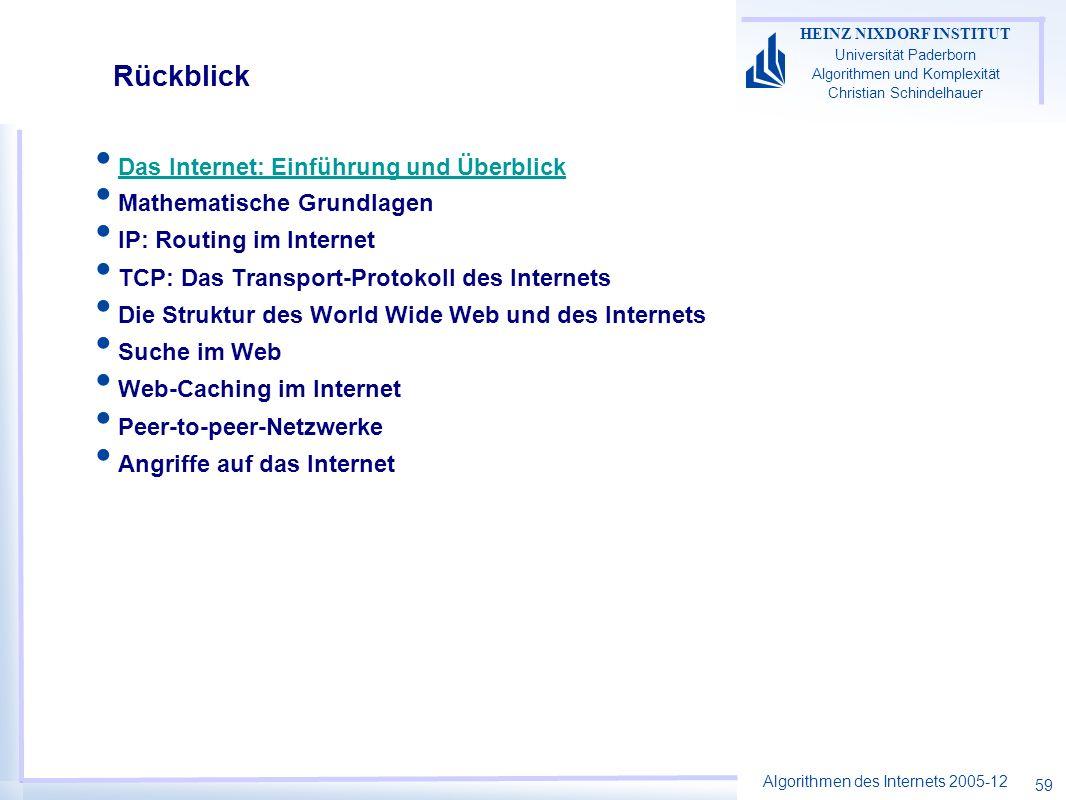 Rückblick Das Internet: Einführung und Überblick