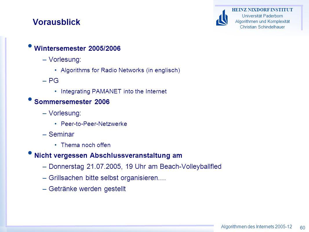 Vorausblick Wintersemester 2005/2006 Vorlesung: PG Sommersemester 2006