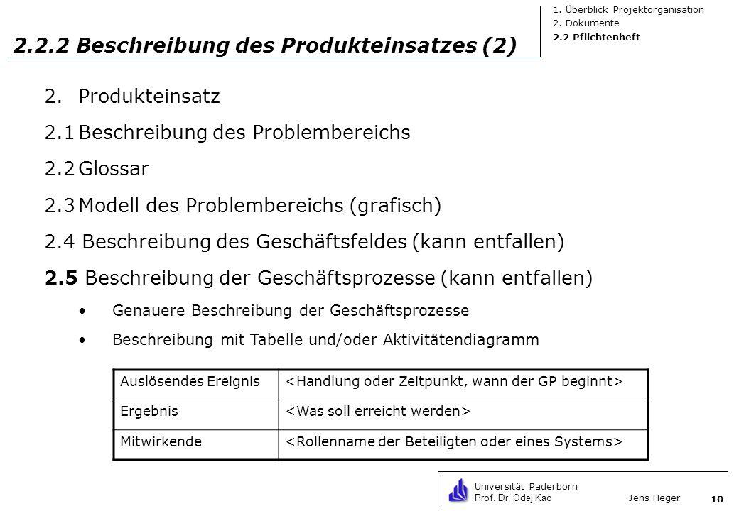 2.2.2 Beschreibung des Produkteinsatzes (2)