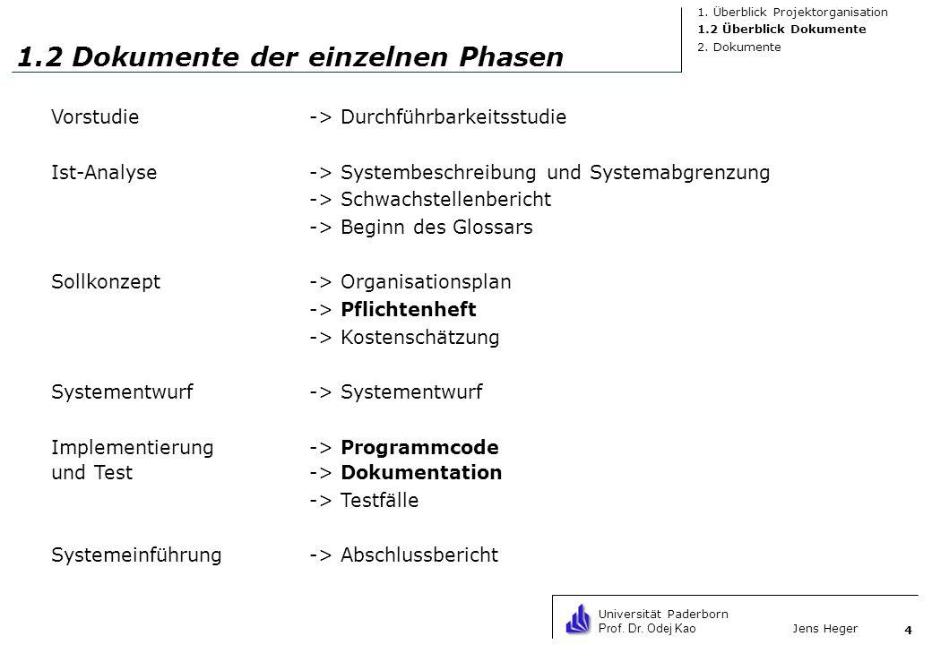 1.2 Dokumente der einzelnen Phasen