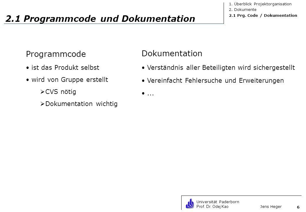 2.1 Programmcode und Dokumentation