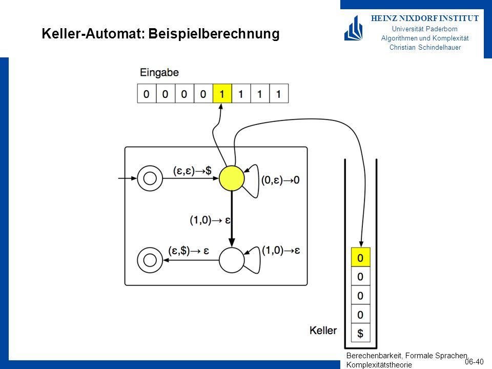 Keller-Automat: Beispielberechnung