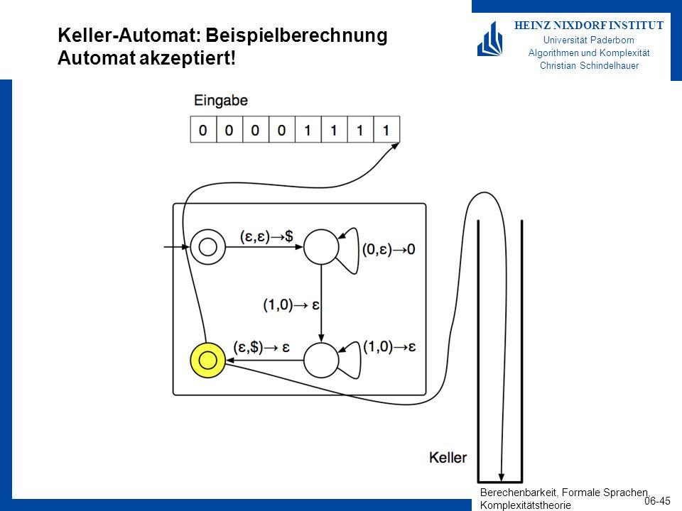 Keller-Automat: Beispielberechnung Automat akzeptiert!