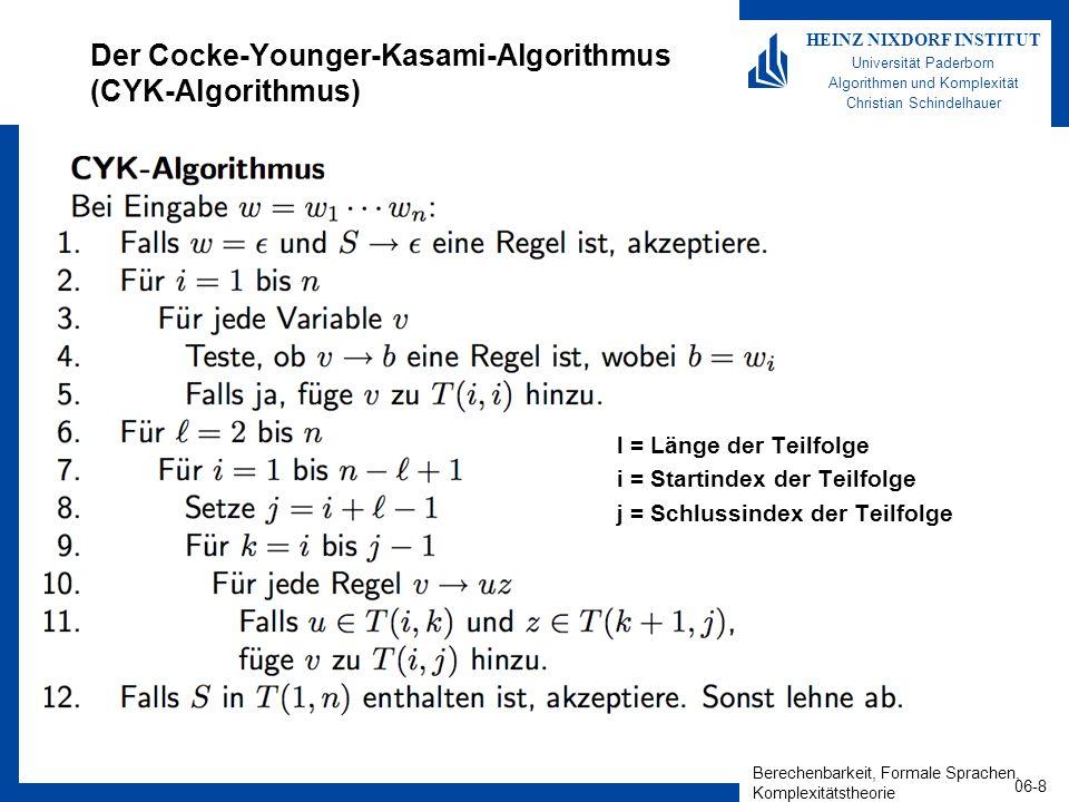 Der Cocke-Younger-Kasami-Algorithmus (CYK-Algorithmus)