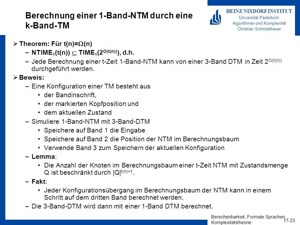 Berechnung einer 1-Band-NTM durch eine k-Band-TM
