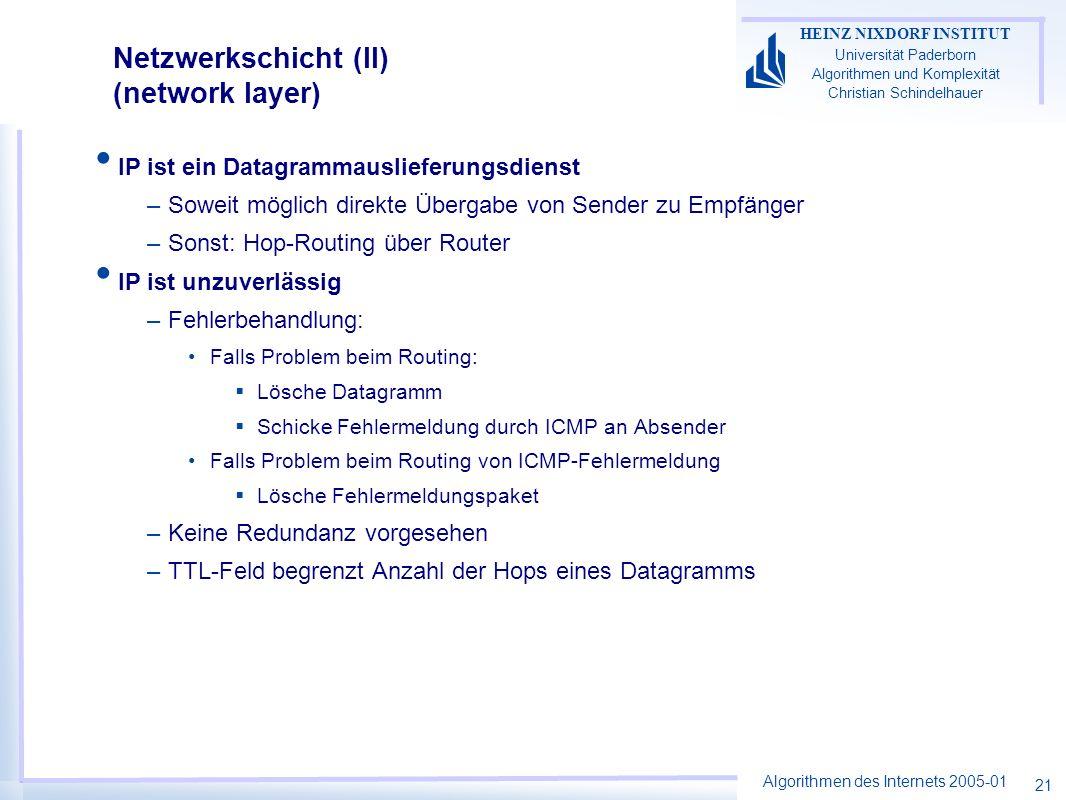 Netzwerkschicht (II) (network layer)